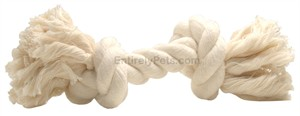 2 Knot Large Tug Rope Bone -  White (8 inch)