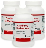 3 PACK Cranberry D-Mannose Urinary Tract Support (180 Tabs)