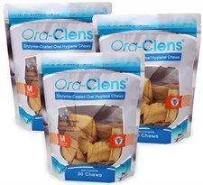 3 PACK Ora-Clens Oral Hygiene Chews MEDIUM (90 Chews)