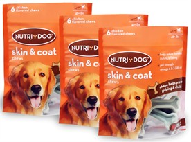 3-PACK 3M Nutri-Dog Skin And Coat Chews LARGE (18 ct)