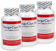 3 Pack Omega-Caps ES - Extra Strength For LARGE and GIANT Dogs (180 Softgel Capsules)
