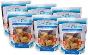 6 PACK Ora-Clens Oral Hygiene Chews MEDIUM (180 Chews)