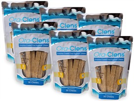 6 PACK Ora-Clens Oral Hygiene Chews SMALL (180 Chews)
