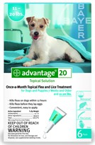 6 MONTH Advantage Flea Control Teal: For Dogs 11-20 lbs.