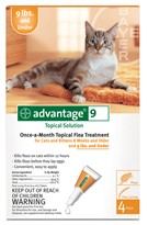 4 MONTH Advantage Flea Control Orange: For Cats Under 9 lbs.