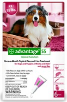 6 MONTH Advantage Flea Control Red: For Dogs 21-55 lbs.