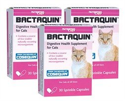 3-PACK Bactaquin Digestive Health Supplement for Cats - 90 Sprinkle Capsules