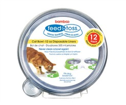 12 PACK Feed + Toss Cat Bowl Disposable Liner for CATS - 12 oz