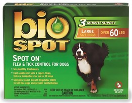 Bio Spot On Spot - LARGE for Dogs over 60 lbs. (3 Month Supply)