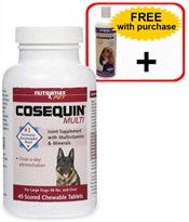 Cosequin Multi Once-A-Day Supplement for Large Dogs 50 lbs. and Over (45 Chewable Tablets) + Dermaquin Omega-3 Fish Oil Supplement for Dogs (16 fl oz.)