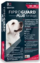 3-PACK Fiproguard Plus Flea & Tick Squeeze-On for Dogs 45-88 lbs