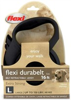 Flexi Durabelt Belt Retractable Leash - Large 150 lbs. - Black 16 ft.