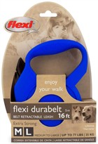 Flexi Durabelt Belt Retractable Leash - Medium/Large 77 lbs. - Blue 16 ft.