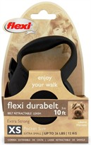 Flexi Durabelt Belt Retractable Leash - XSmall 26 lbs. - Black 10 ft