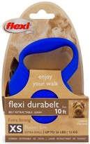 Flexi Durabelt Belt Retractable Leash - XSmall 26 lbs. - Blue 10 ft