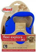 Flexi Explore Tape Retractable Leash - Large 110 lbs. - Blue 26 ft.