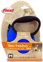 Flexi Freedom Cord Retractable Leash - Medium 44 lbs. - Blue/Black 16 ft.