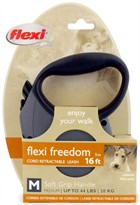 Flexi Freedom Cord Retractable Leash - Medium 44 lbs. - Granite Grey/Black 16 ft.