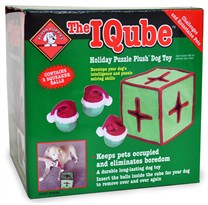 The IQube Holiday Puzzle Plush Dog Toy Green - LARGE