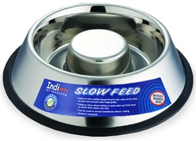 Indipets Stainless Steel Non-Tip Anti-Skid Health Care Slow Feeding Dish - Medium