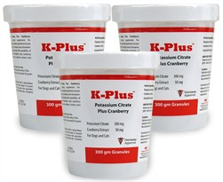 3 PACK K-Plus Potassium Citrate Plus Cranberry (900g Granules)
