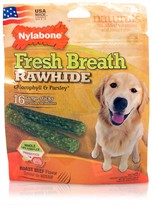 Nylabone Fresh Breath Rawhide Chlorophyll & Parsley - Beef (16 large sticks)