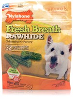 Nylabone Fresh Breath Rawhide Chlorophyll & Parsley - Beef (32 regular sticks)