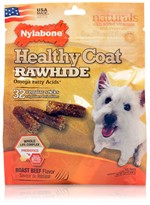 Nylabone Healthy Coat Rawhide Omega Fatty Acids - Beef (32 regular sticks)