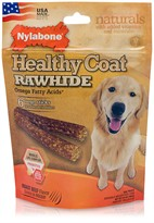 Nylabone Healthy Coat Rawhide Omega Fatty Acids - Beef (6 large sticks)