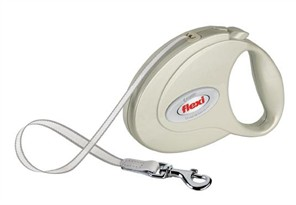 Flexi Elegance 2 Pearl White Medium Leash for dogs up to 55 lb (16 ft)