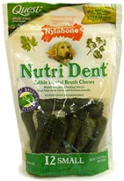 Nylabone Nutri Dent  Edible Dental Brush Chews-SMALL (12 Per Pouch / 5.9 oz )