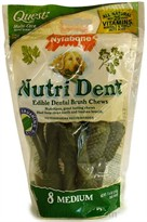 Nylabone Nutri Dent Edible Dental Brush Chews-MEDIUM (8 Per Pouch / 7.6 oz)