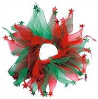 "Holiday Party Collar - Xmas Red & Green Stars - Small (10"")"