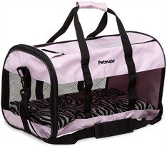 Petmate Plush Soft Side Kennel Cab Large upto 15lbs - Pink/Zebra