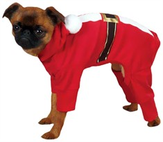 Casual Canine Santa Pajama Small/Medium Red