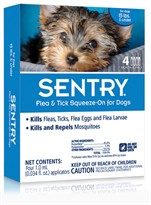 4 Month SentryPro Squeeze-On Flea & Tick BLUE for Dogs under 15 lbs