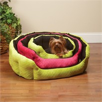 Slumber Pet Dimple Plush Nesting Bed 34 Inch - Black/Pink