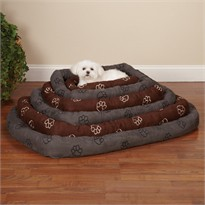 Slumber Pet Embroided Paw Print Crate Bed Chocolate - Large (14x24x15 In)