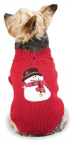 "Casual Canine Snowman Sweaters Red - XS (10"")"