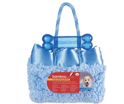 "Bamboo Puppy Teething Blankie - BLUE 14"" x 17"""