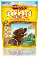 Zuke's Mini Naturals Moist Miniature Treats For Dogs - PEANUT BUTTER (6 oz)