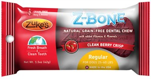 Zukes Z-Bones Edible Dental Chews Regular Clean Cherry Berry (1.5 oz)